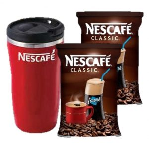 2 x Nescafe Classic Coffee Frappe 200gr & Gift Thermo Mug-0